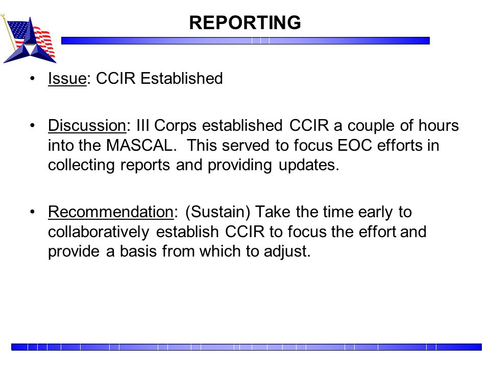 REPORTING Issue: CCIR Established
