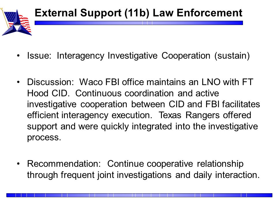 External Support (11b) Law Enforcement
