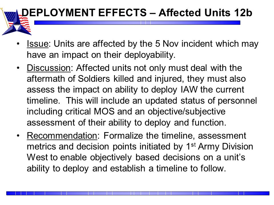 DEPLOYMENT EFFECTS – Affected Units 12b
