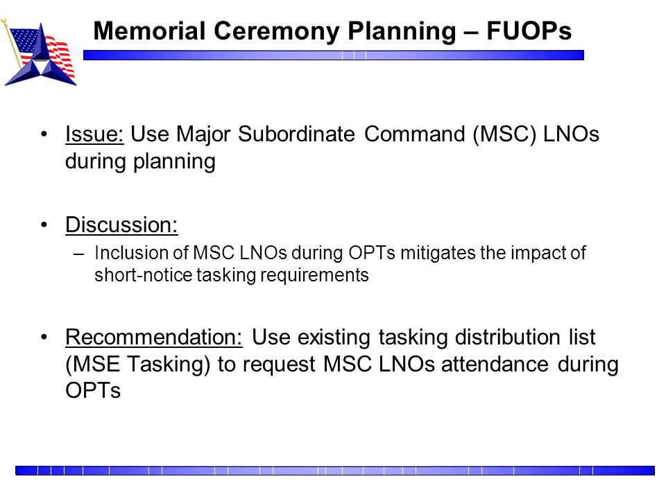 Memorial Ceremony Planning – FUOPs