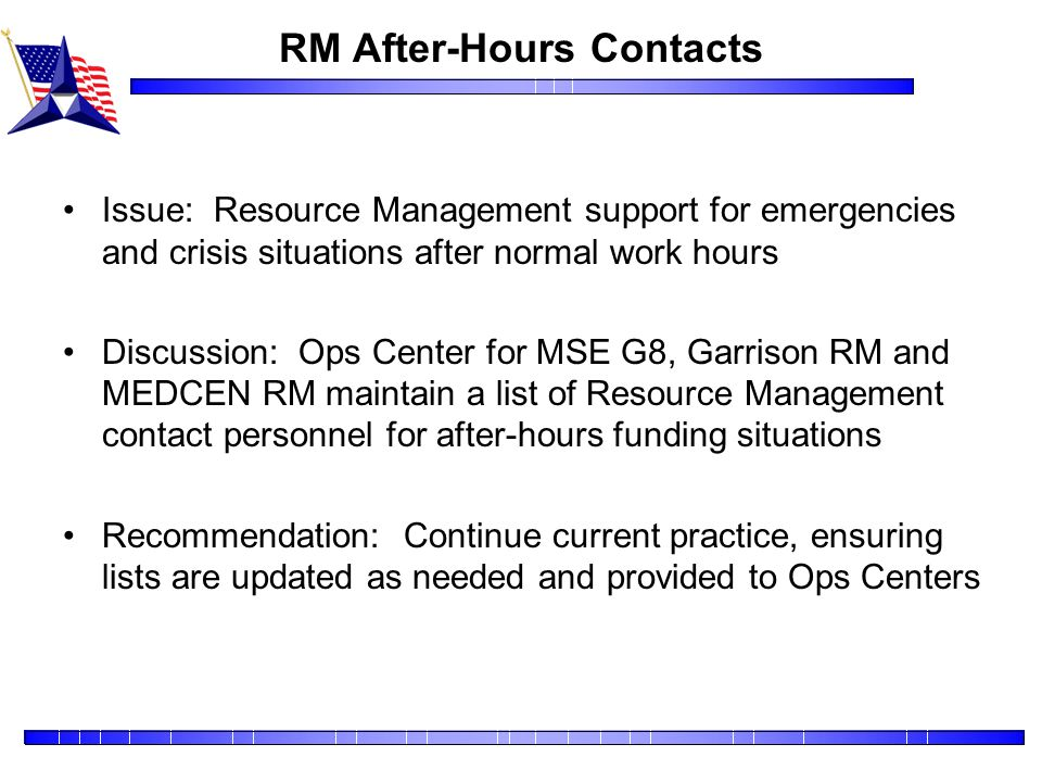 RM After-Hours Contacts