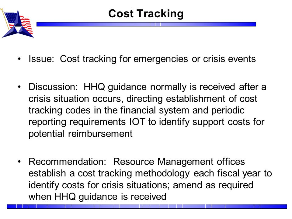 Cost Tracking Issue: Cost tracking for emergencies or crisis events