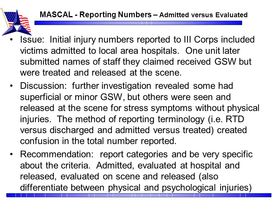MASCAL - Reporting Numbers – Admitted versus Evaluated