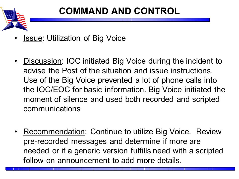 COMMAND AND CONTROL Issue: Utilization of Big Voice