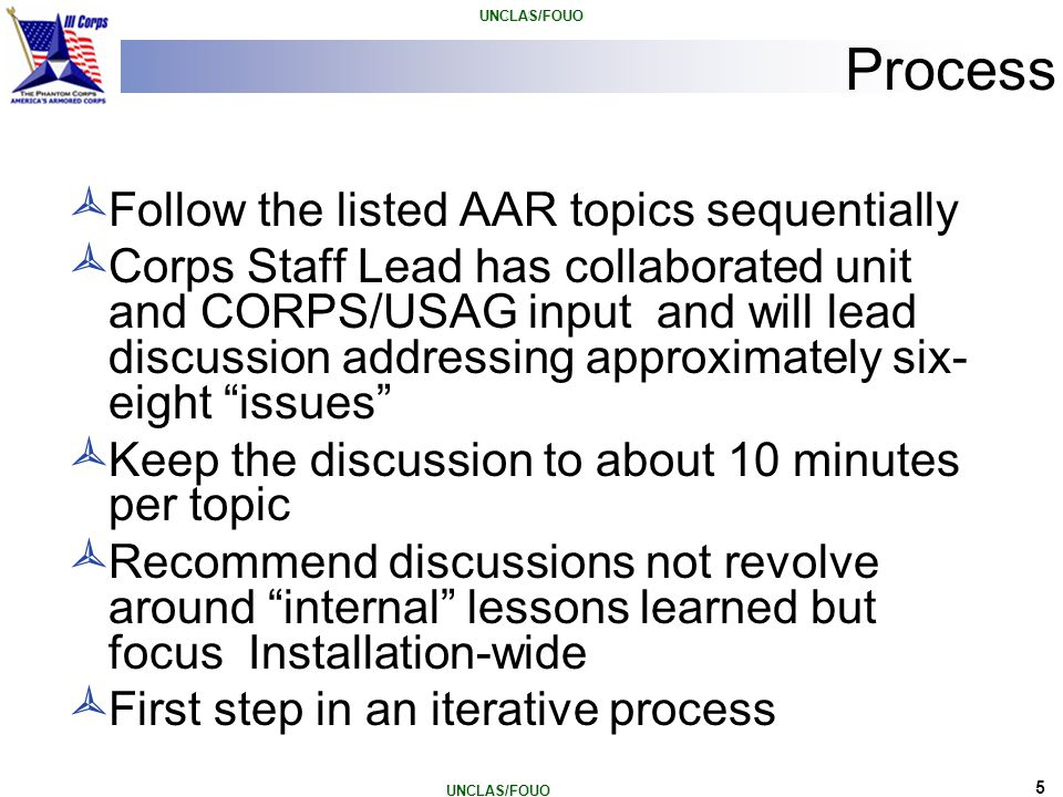 Process Follow the listed AAR topics sequentially