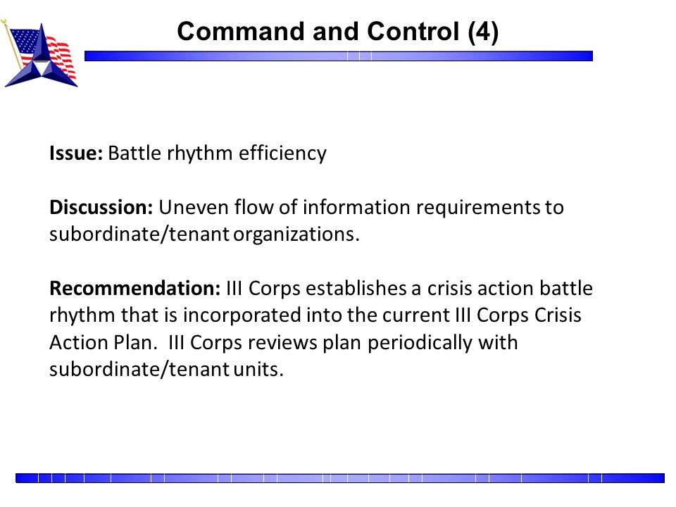 Command and Control (4) Issue: Battle rhythm efficiency