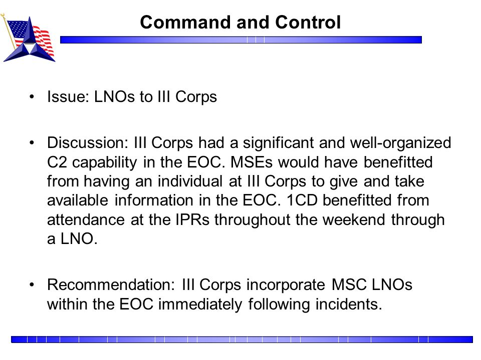 Command and Control Issue: LNOs to III Corps
