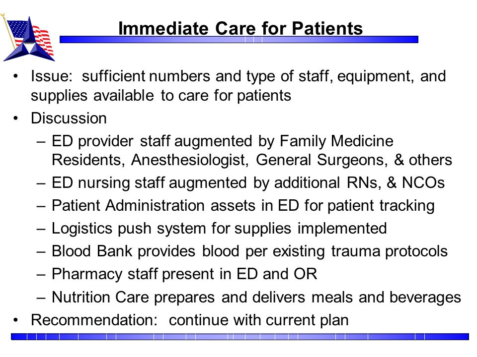 Immediate Care for Patients