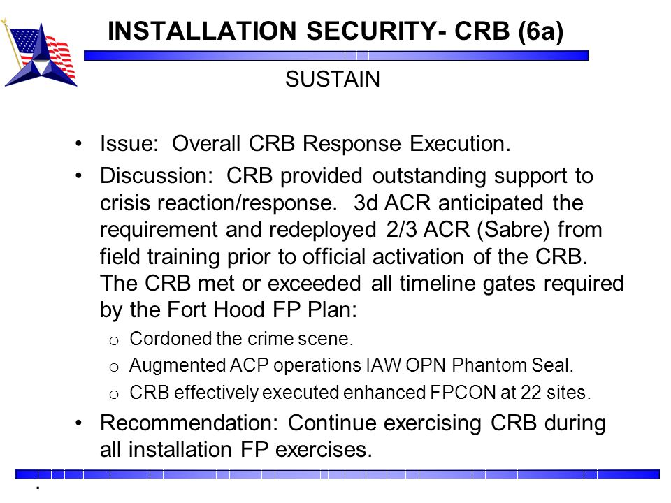 INSTALLATION SECURITY- CRB (6a)