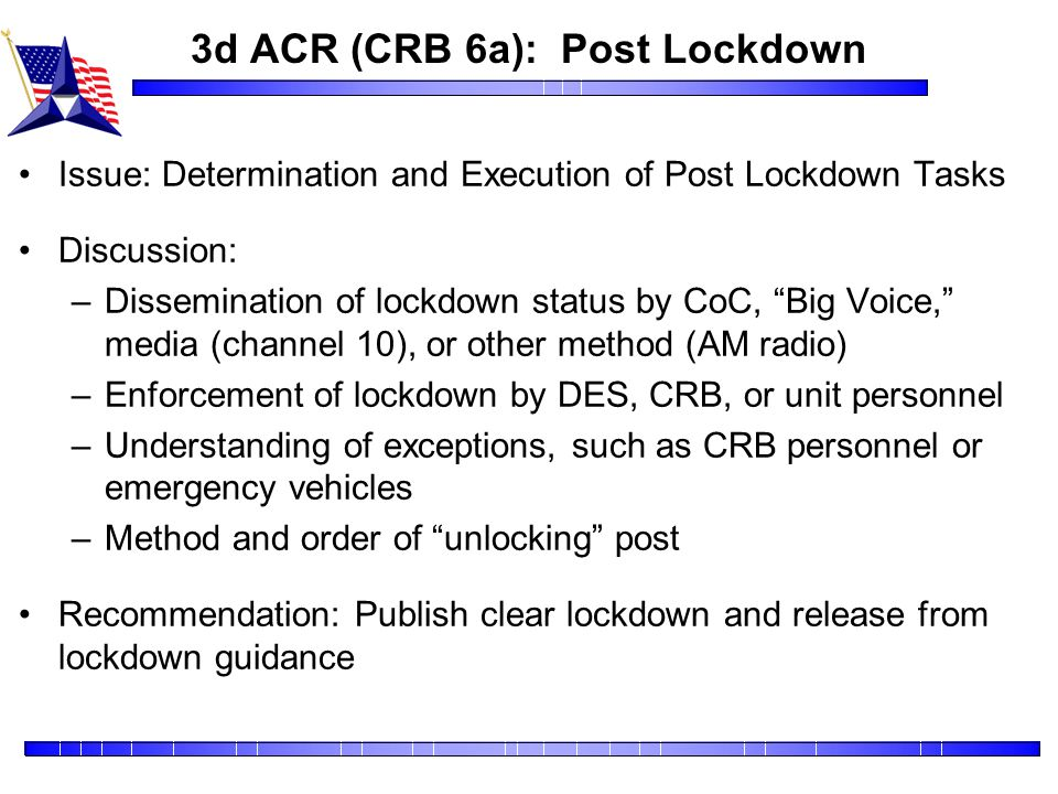 3d ACR (CRB 6a): Post Lockdown