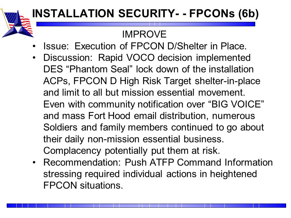 INSTALLATION SECURITY- - FPCONs (6b)