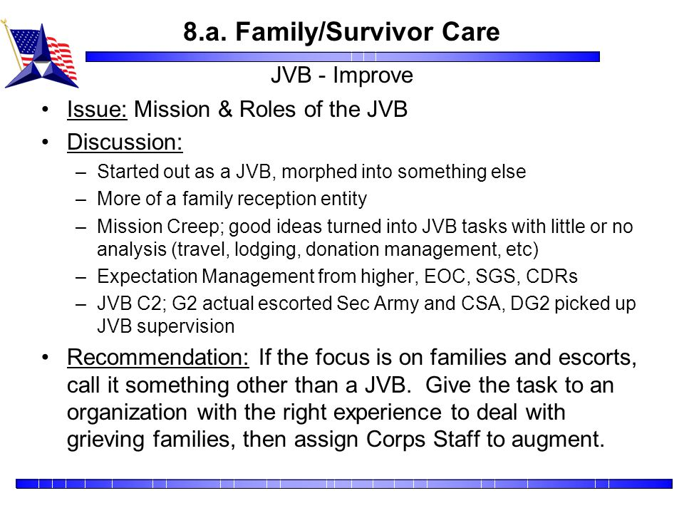 8.a. Family/Survivor Care JVB - Improve