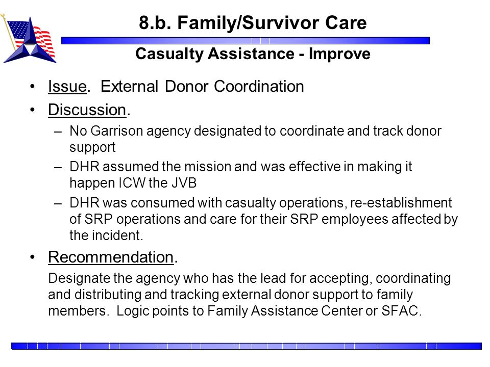 8.b. Family/Survivor Care Casualty Assistance - Improve