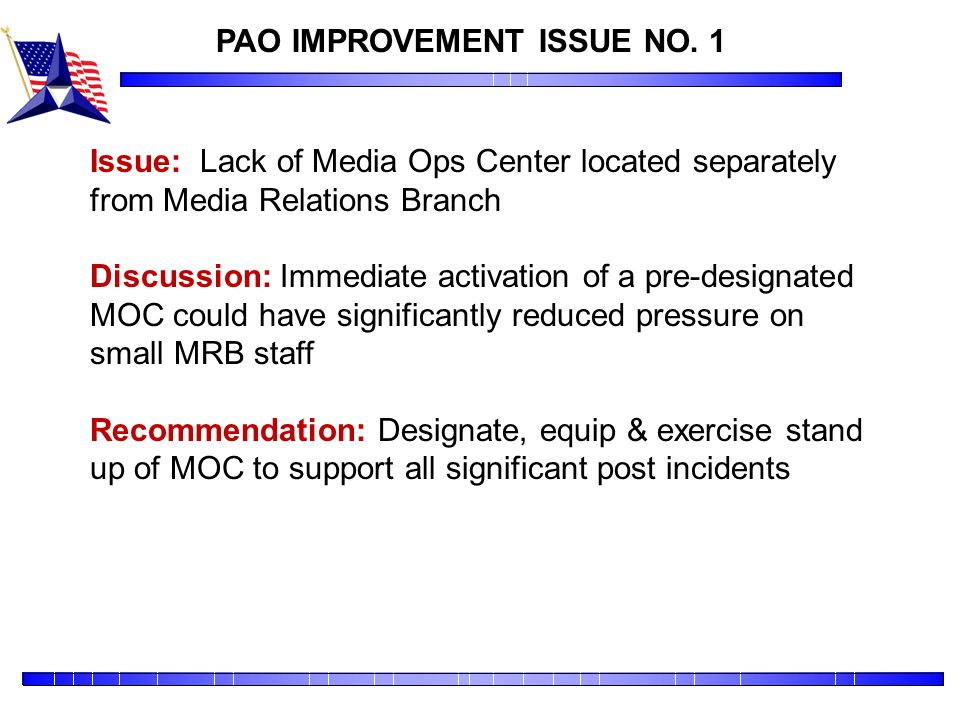 PAO IMPROVEMENT ISSUE NO. 1
