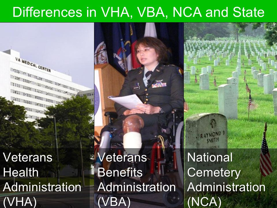 Differences in VHA, VBA, NCA and State