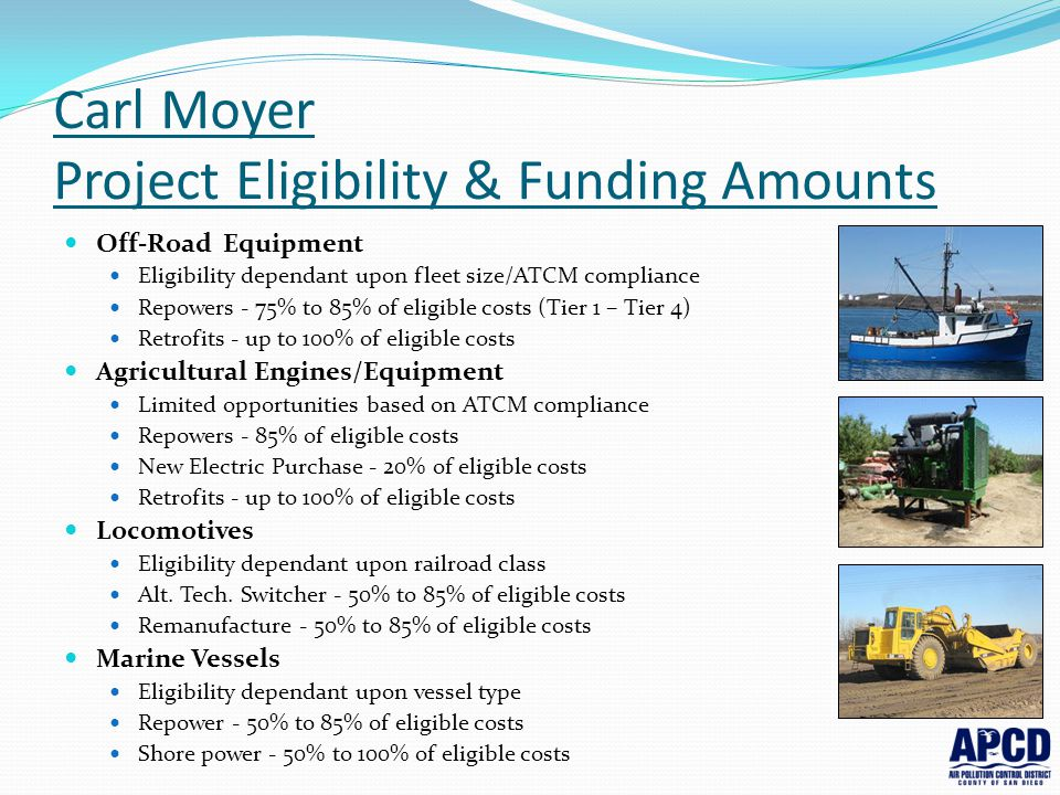 Carl Moyer Project Eligibility & Funding Amounts