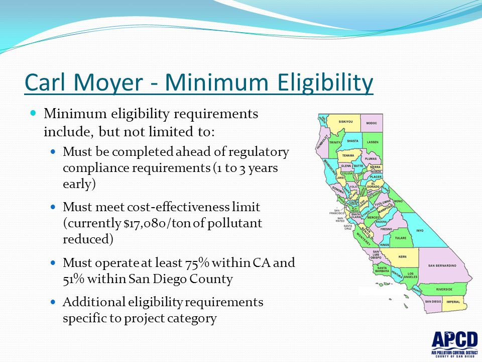 Carl Moyer - Minimum Eligibility