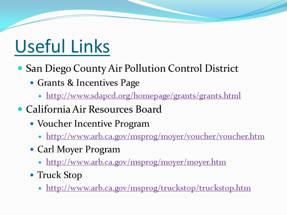 Useful Links San Diego County Air Pollution Control District