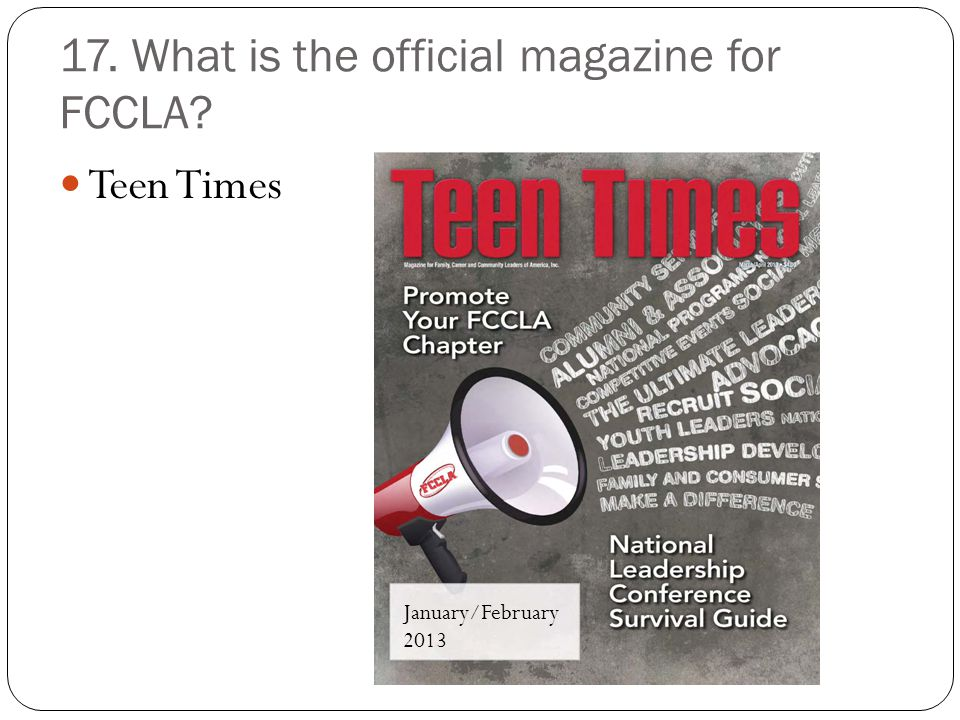 17. What is the official magazine for FCCLA