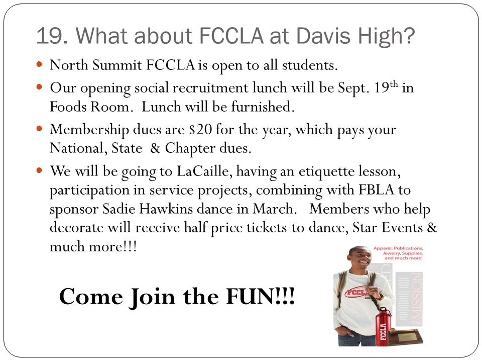19. What about FCCLA at Davis High