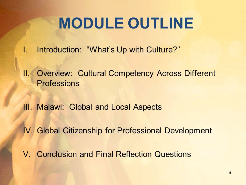 MODULE OUTLINE Introduction: What's Up with Culture