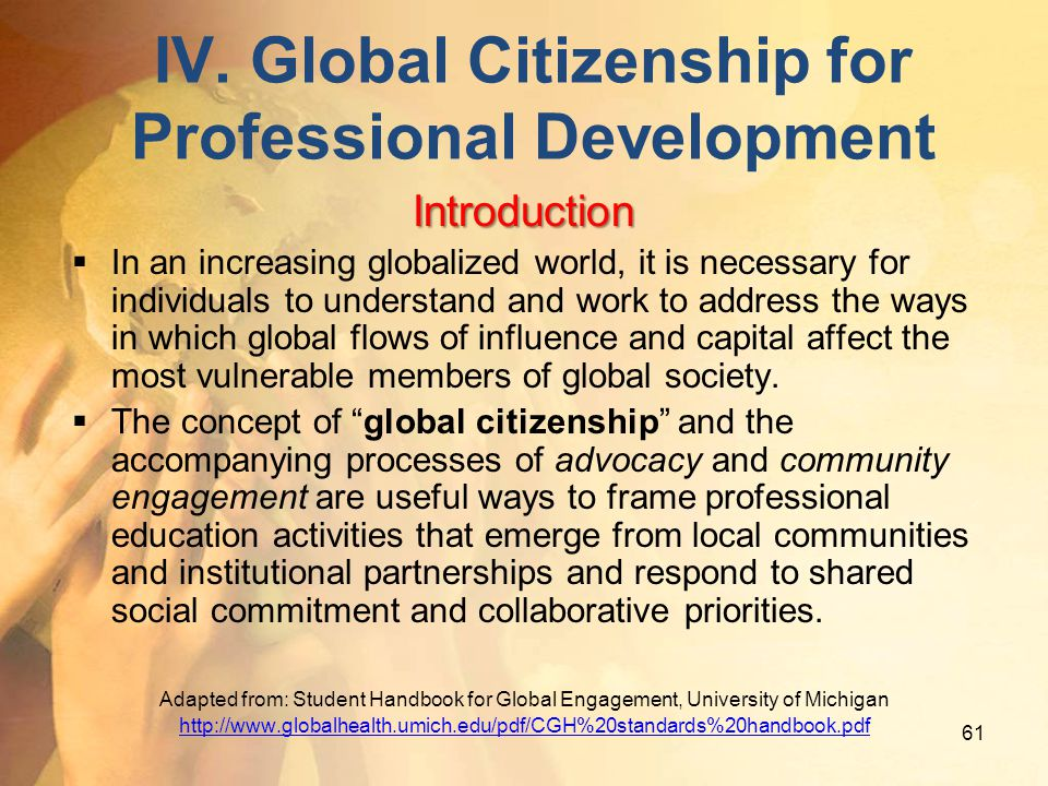IV. Global Citizenship for Professional Development