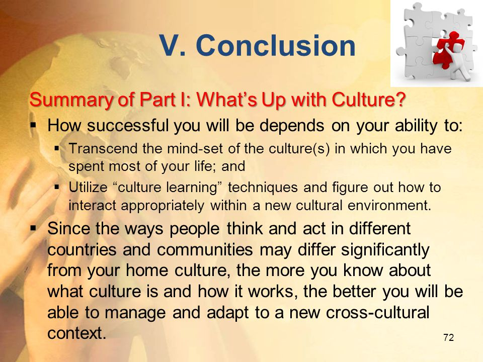 V. Conclusion Summary of Part I: What's Up with Culture