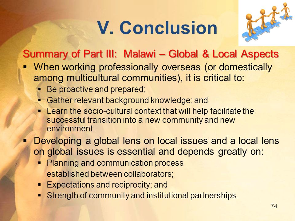 V. Conclusion Summary of Part III: Malawi – Global & Local Aspects
