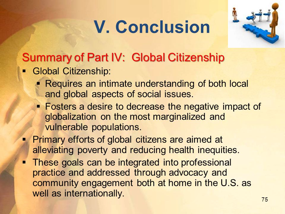 V. Conclusion Summary of Part IV: Global Citizenship