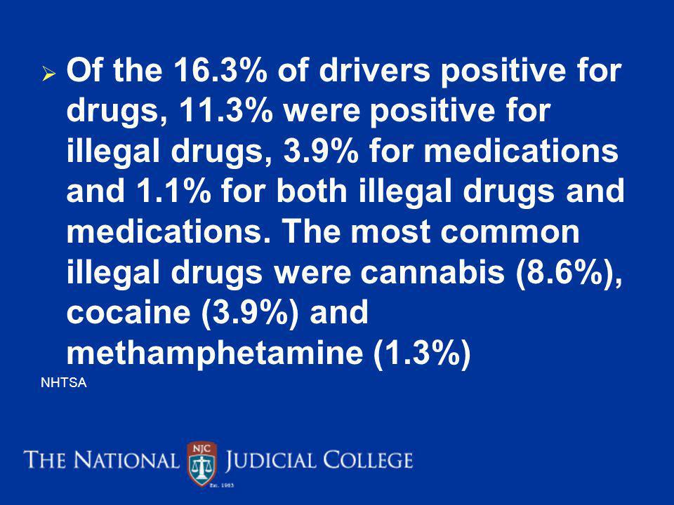 Of the 16. 3% of drivers positive for drugs, 11