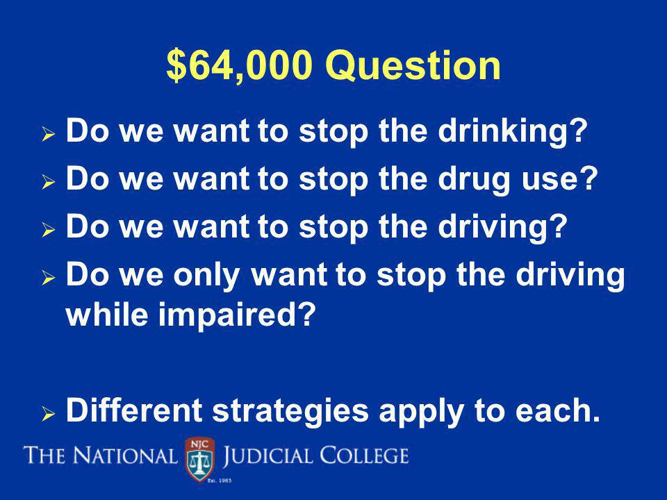 $64,000 Question Do we want to stop the drinking