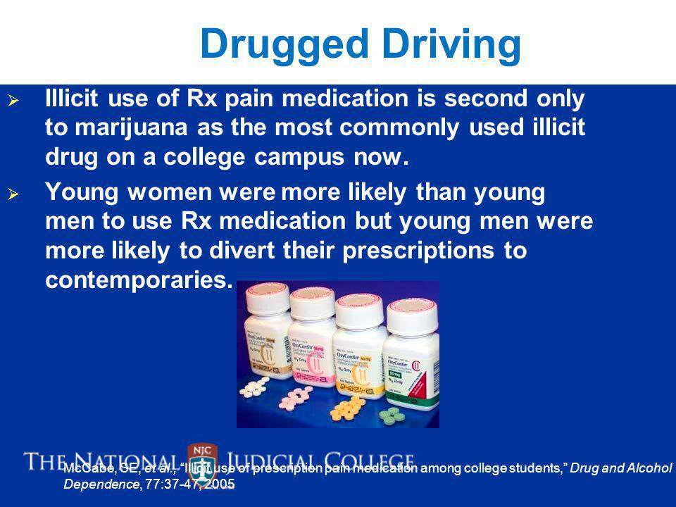 Drugged Driving Illicit use of Rx pain medication is second only to marijuana as the most commonly used illicit drug on a college campus now.