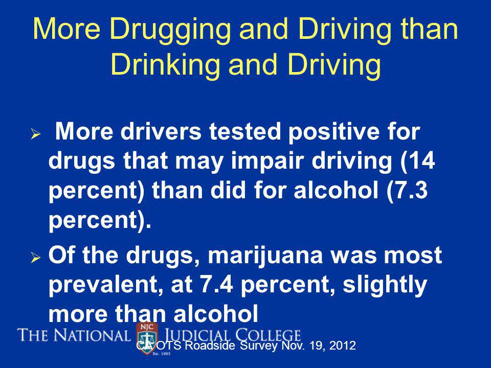 More Drugging and Driving than Drinking and Driving