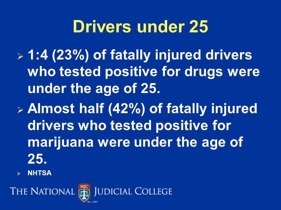 Drivers under 25 1:4 (23%) of fatally injured drivers who tested positive for drugs were under the age of 25.