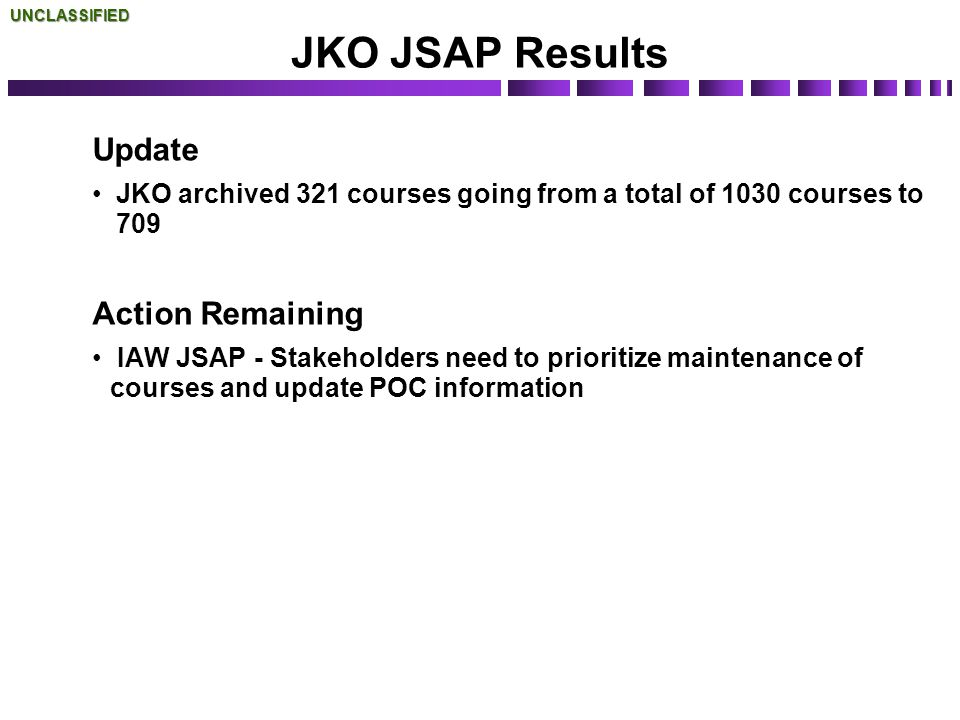 JKO JSAP Results Update Action Remaining