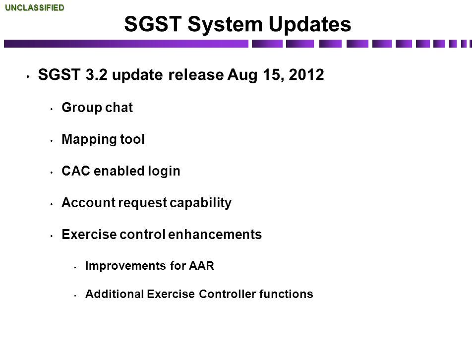 SGST System Updates SGST 3.2 update release Aug 15, 2012 Group chat