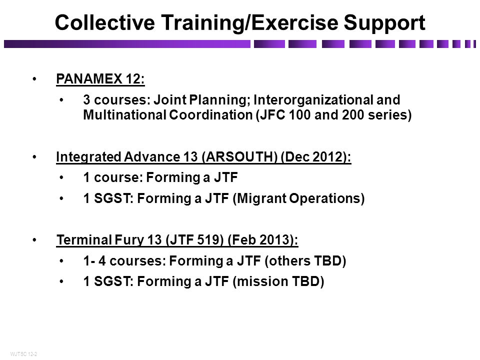 Collective Training/Exercise Support
