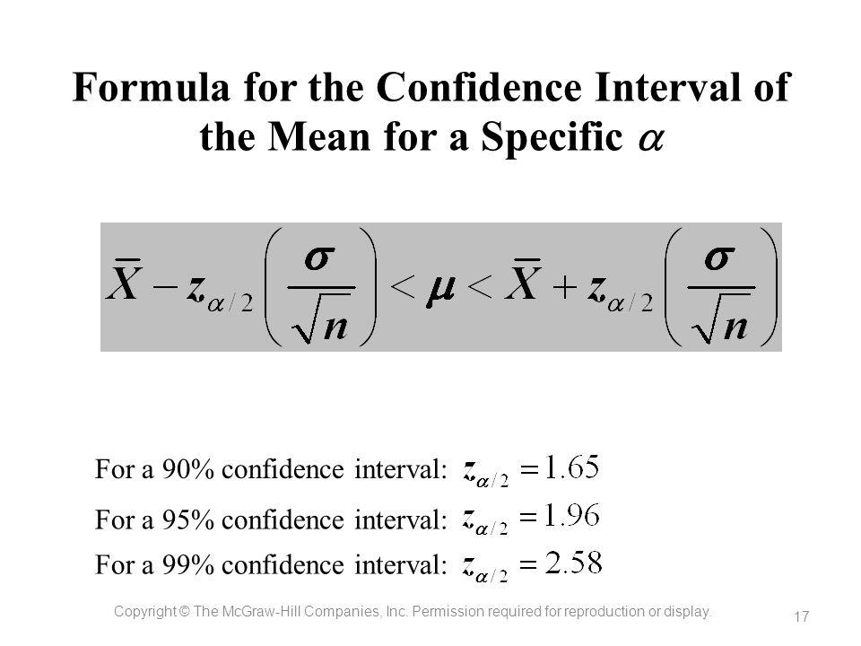 Formula for the Confidence Interval of the Mean for a Specific a