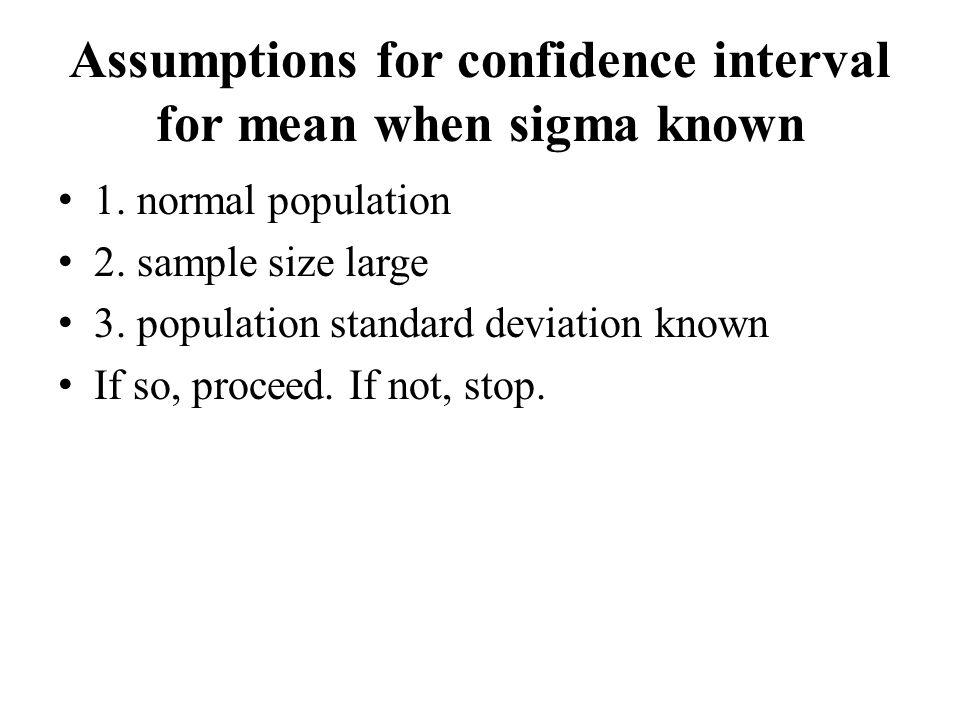 Assumptions for confidence interval for mean when sigma known