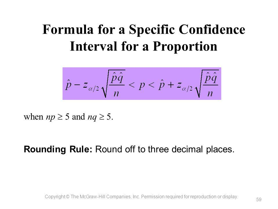 Formula for a Specific Confidence Interval for a Proportion
