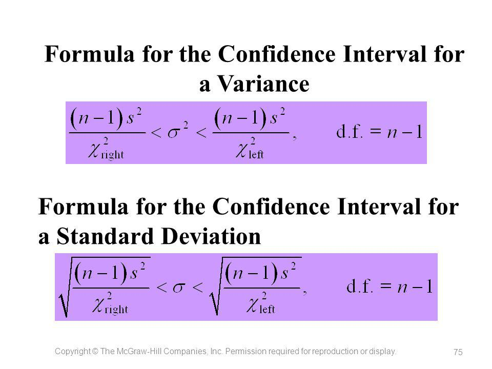 Formula for the Confidence Interval for a Variance