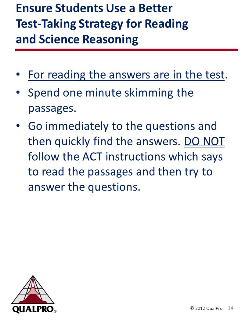 Ensure Students Use a Better Test-Taking Strategy for Reading and Science Reasoning