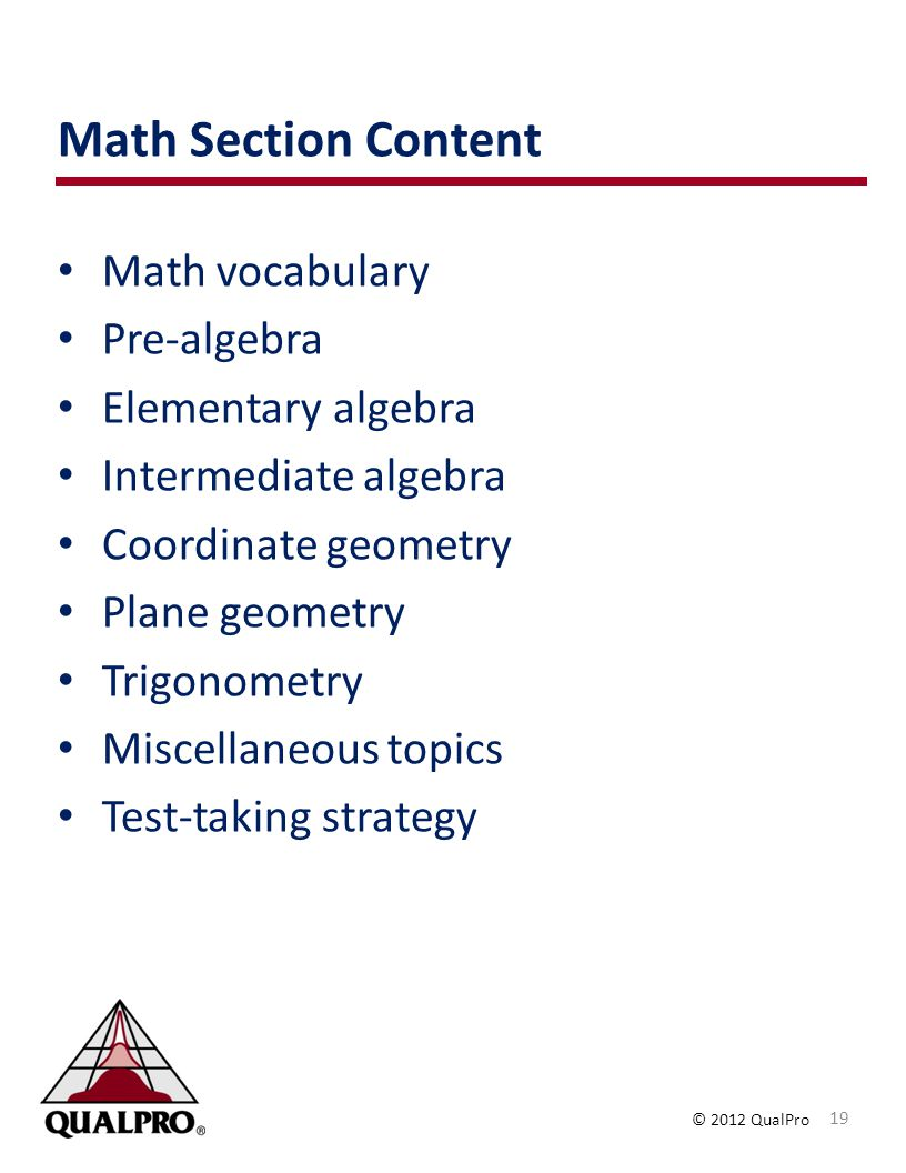 Math Section Content Math vocabulary Pre-algebra Elementary algebra