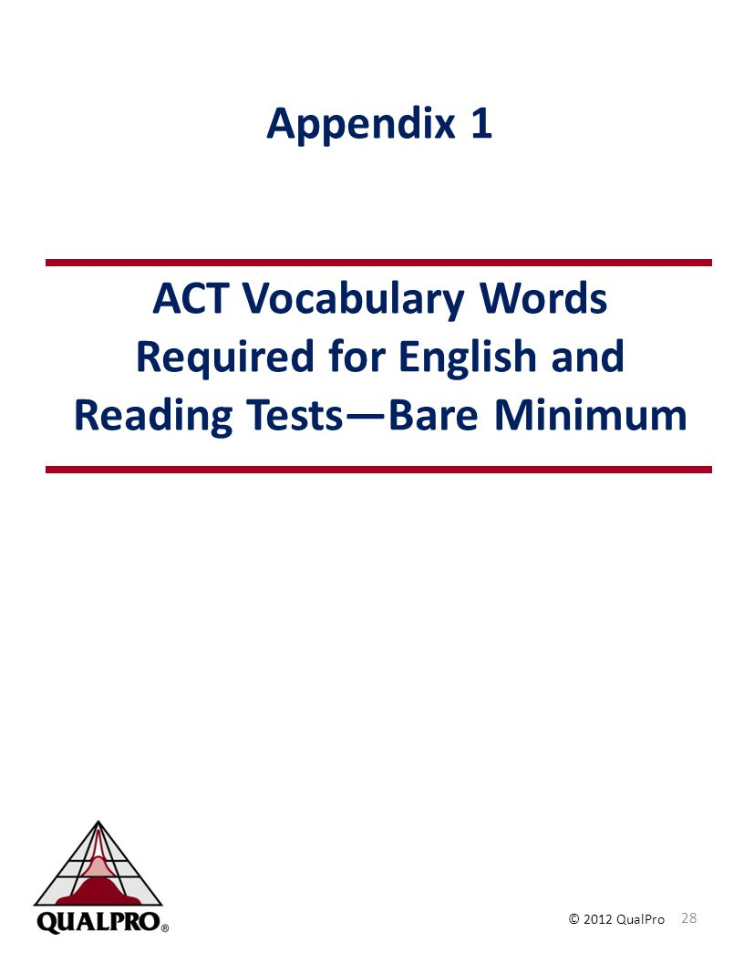 Appendix 1 ACT Vocabulary Words Required for English and Reading Tests—Bare Minimum