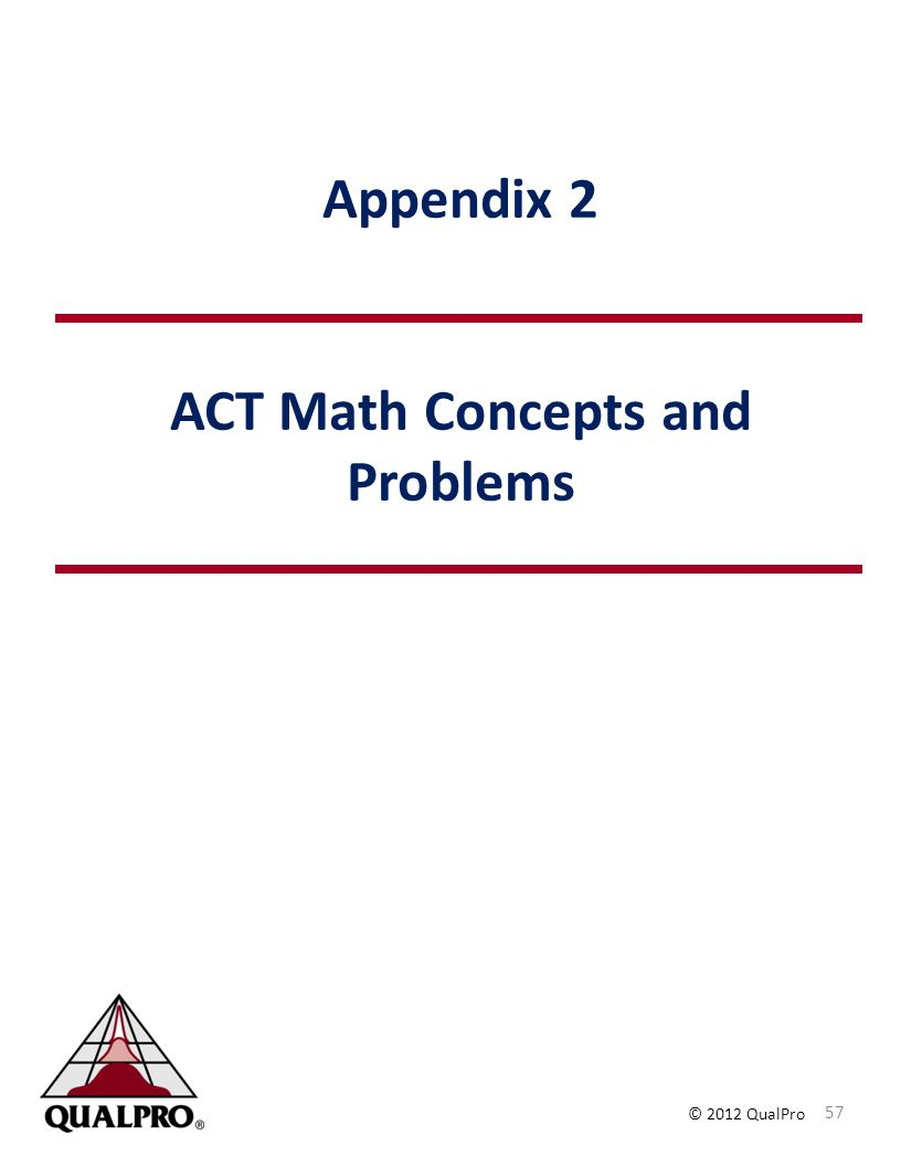 Appendix 2 ACT Math Concepts and Problems