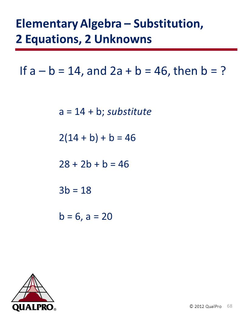 Elementary Algebra – Substitution, 2 Equations, 2 Unknowns