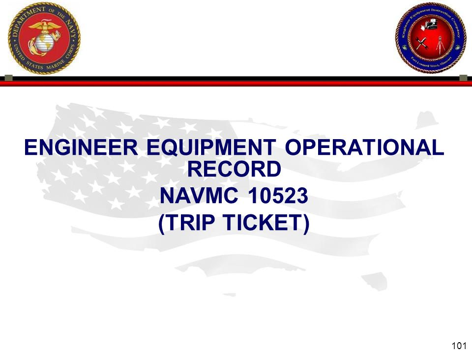 ENGINEER EQUIPMENT OPERATIONAL RECORD