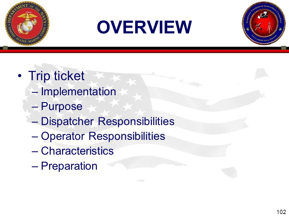 overview Trip ticket Implementation Purpose