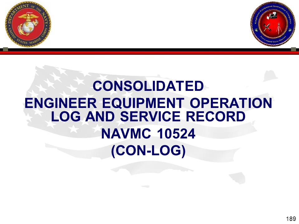 ENGINEER EQUIPMENT OPERATION LOG AND SERVICE RECORD