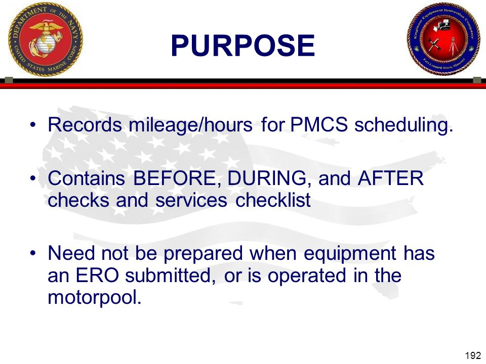 purpose Records mileage/hours for PMCS scheduling.
